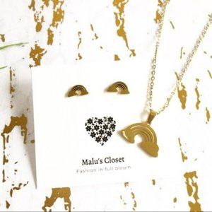 Jewelry - NEW Rainbow Necklace Set Golden Stainless Steel